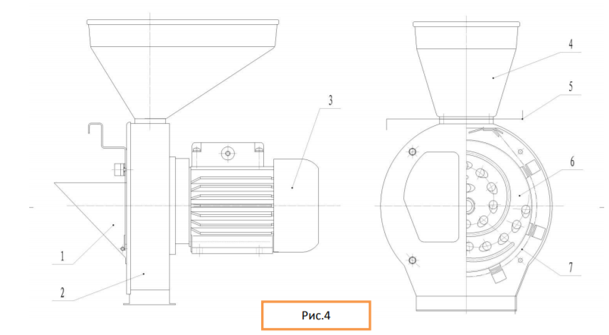 Схема измельчителя зерна и корнеплодов модели Дон КБЭ-180Т
